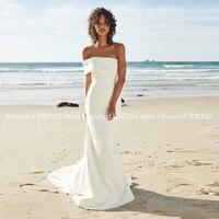 Vestidos De Novia 2019 Sexy Mermaid Ivory Beach Wedding Dress With Long Sweep Train Robe de mariee Backless Boho Bridal Gowns