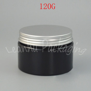 120G Black Plastic Cream Jar With Aluminum Cover , 120CC Empty Cosmetic Container , Mask/Eye Cream Wide Mouth Bottle (48 PC/Lot)