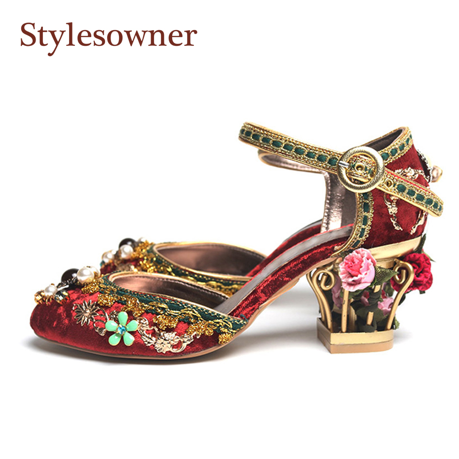 Stylesowner Retro Wedding Shoes for Women Birdcage Heel Ankle Strap Cut Out Velvet Fashion Shoes Mary Janes Shoe 2019 RhinestoneStylesowner Retro Wedding Shoes for Women Birdcage Heel Ankle Strap Cut Out Velvet Fashion Shoes Mary Janes Shoe 2019 Rhinestone