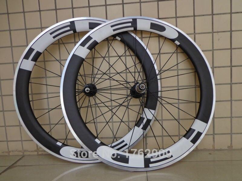 1 paire de Nouveaux 700C 60mm pneu jante vélo de Route mat UD carbone vélo roues avec surface de frein en alliage aero parlé brochettes bateau Libre