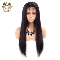 King Hair Glueless Lace Front Human Hair Wigs Straight Natural Color Brazilian Remy Hair Wigs For
