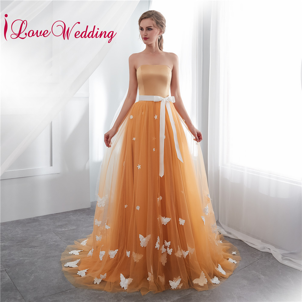 iLoveWedding 2018 Sweetheart Gold Tulle 3D Butterflies Natural Waist Sash A Line Formal Long   Prom     Dresses