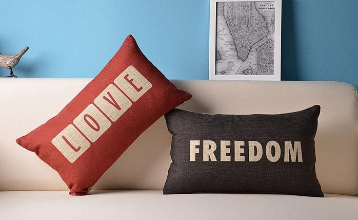 LOVE & FREEDOM English Letters Pillow   Pillow Cushion  For Sofa Cushions  Pillows Home Decor 30x50cm