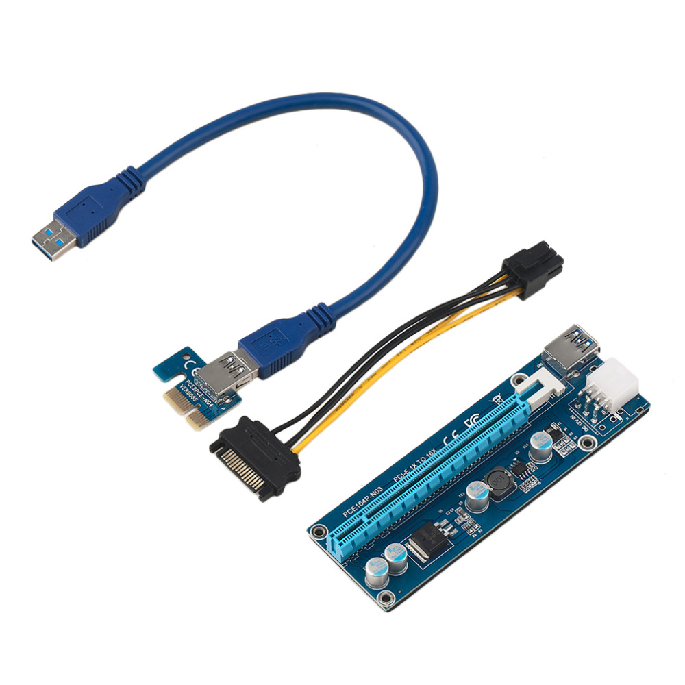 PCIE 1X To 16X 6Pin Extender Riser Card Adapter Cable 0.6M ...
