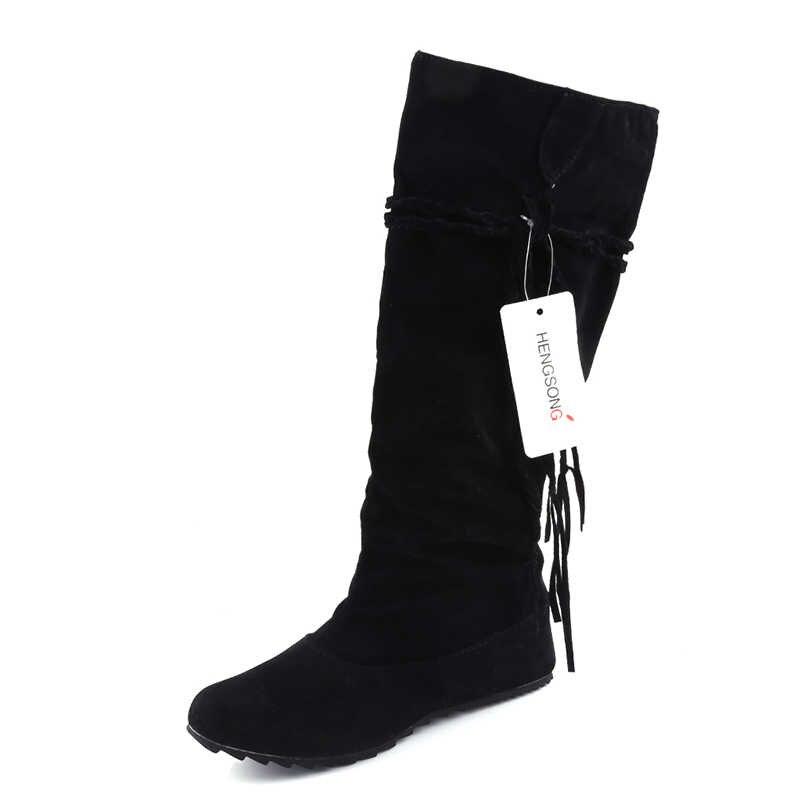 Yeni kadın botları sonbahar kış saçak yarım diz yüksek çizmeler bayanlar püskül moda ayakkabılar kadın Bota Feminina artı boyutu 35- 43 916620