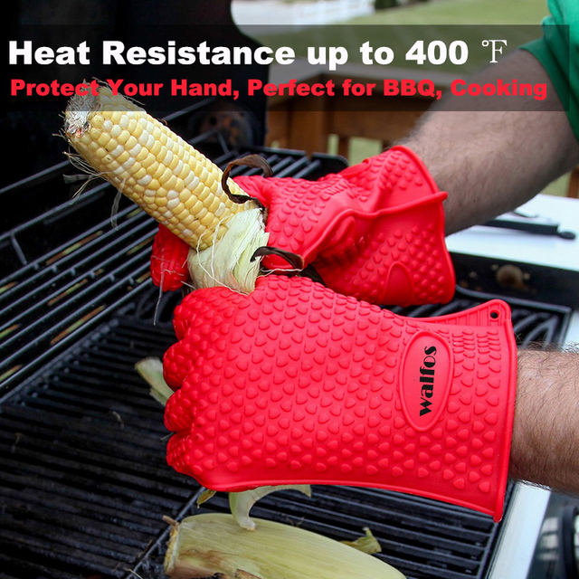 Cooking Baking BBQ Heat Resistant Silicone Gloves 1 Pair
