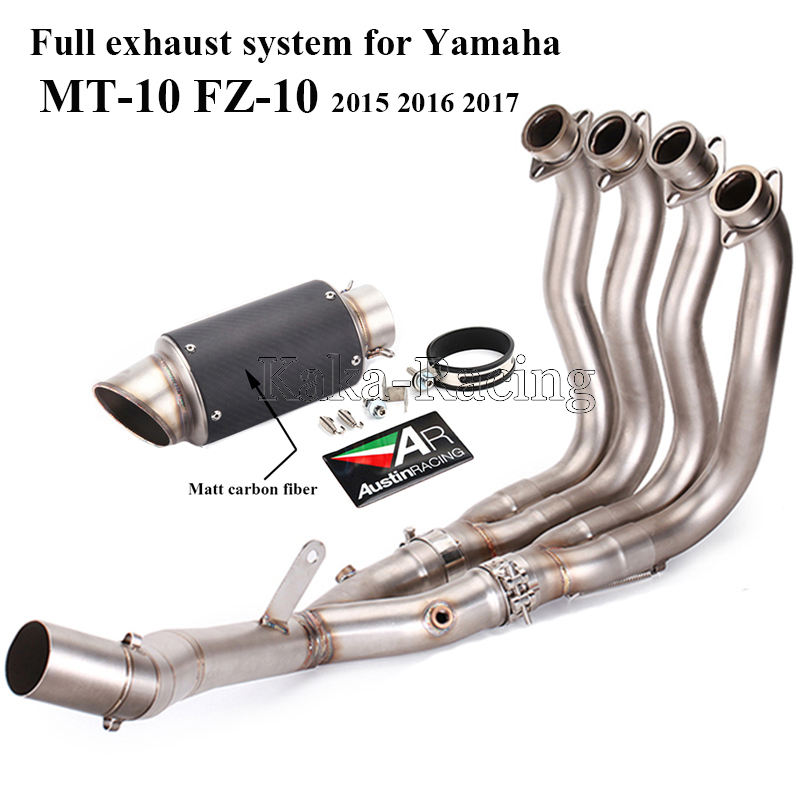 US $190 0 24% OFF|MT10 Full system Motorcycle Exhaust Muffler AR Austin  Racing Escape Front Header link pipe slip on for Yamaha MT 10 FZ 10 2017-in