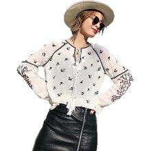 blusas 2019 mujer 女性白春夏長袖ブラウス女性花刺繍プリントコットンシャツファッション女性は