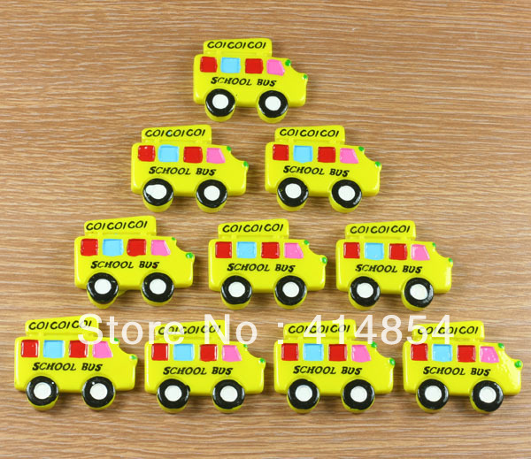 Wholesale Lot 50pcs Yellow School Bus Resin Cabochon Flatbacks Flat Back Scrapbooking Hair Bow Center Crafts Embellishments DIY