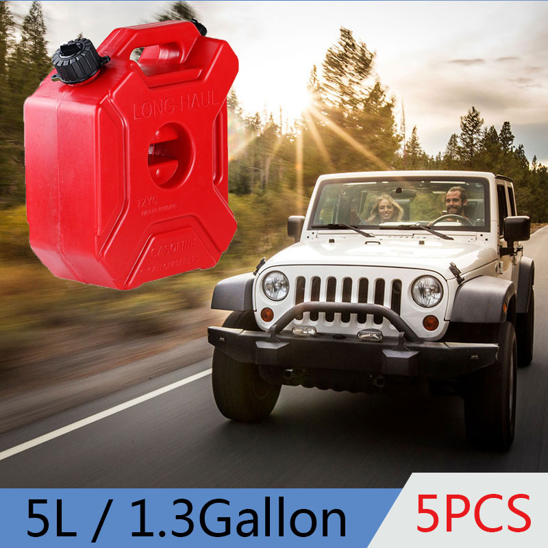 5pcs 5L 1.3 Gallon Canister For Gasoline Flexible Spout Oil Can Motorcycle Cans HDPE Petrol Tank