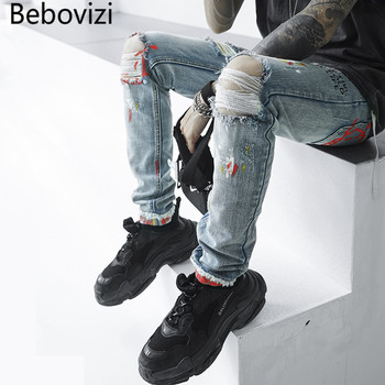 Bebovizi Brand Hip Hop Men Denim Pants Skinny Distressed Jeans New Designer Funny Print Streetwear Destroyed Ripped Jeans 2017 new designer men jeans dsel brand jeans men high quality dark color retro ripped jeans for men distressed jeans denim pants