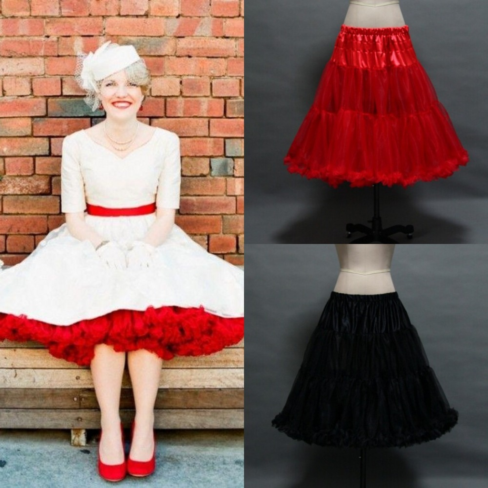 In stock ruffled petticoats colorful red white black for Tulle petticoat for wedding dress