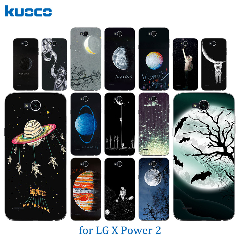 for LG X power 2 K10 Power Silicone Cases Cover Space Moon Pattern Soft TPU Mobile Phone Bags for for LG k10 k 10 Power Case