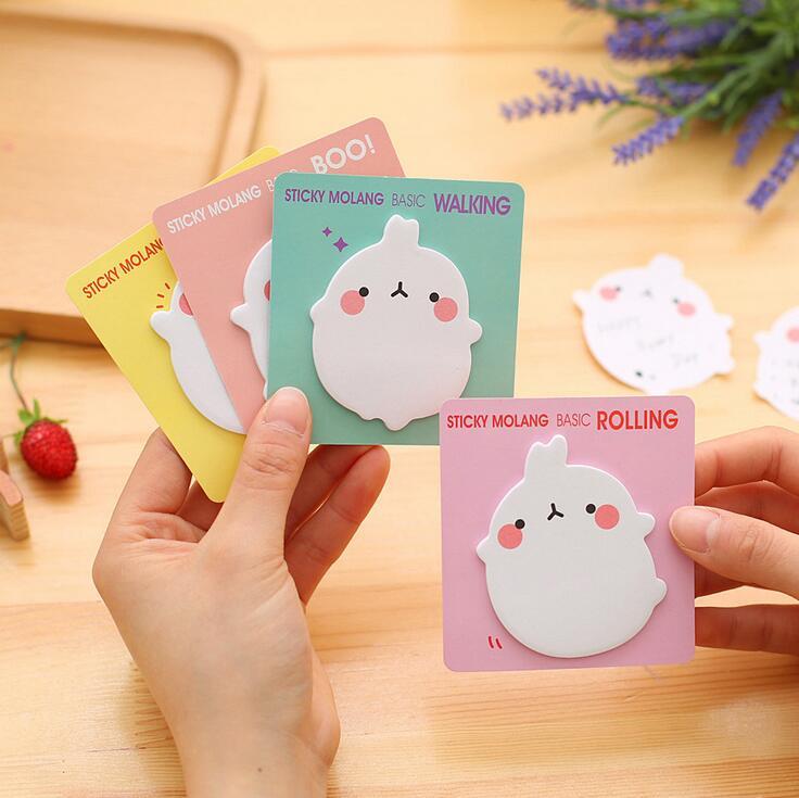 1pcs/Lot   Molang Rabbit Self-Adhesive Memo Pad Sticky Notes Sticker Label Escolar Papelaria School Office Supply