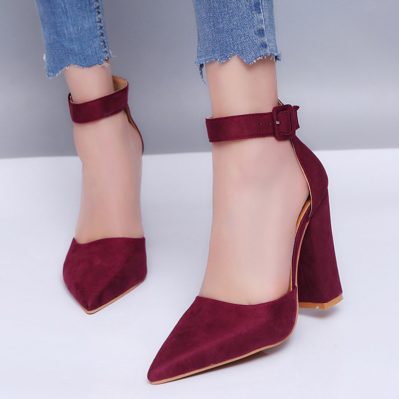 Hot Women Pumps Comfort High Heels Women Shoes Pointed Block Heels Ladies Shoes Women Heels Women Sandals Square Heel Sandals