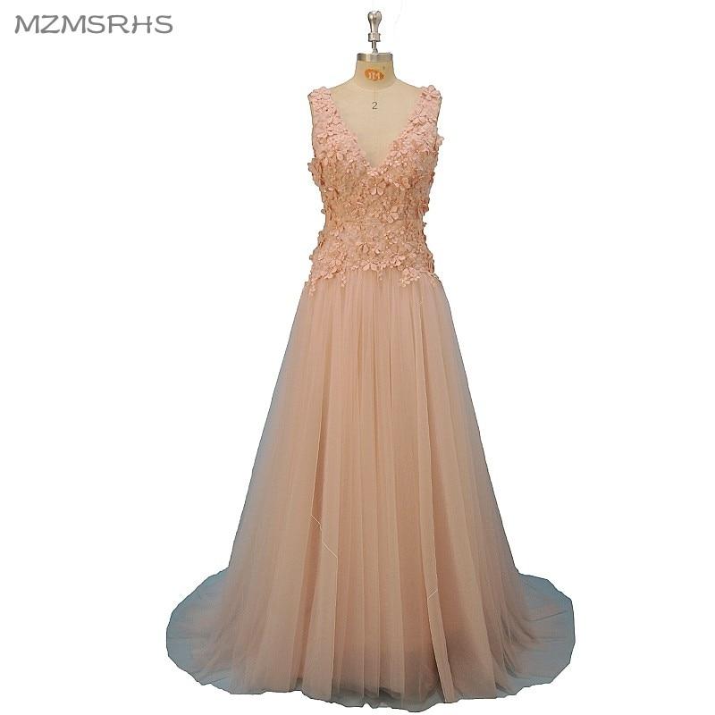 ③Sexy v-cuello vestido de noche Encaje 2018 alta calidad Rosa ...