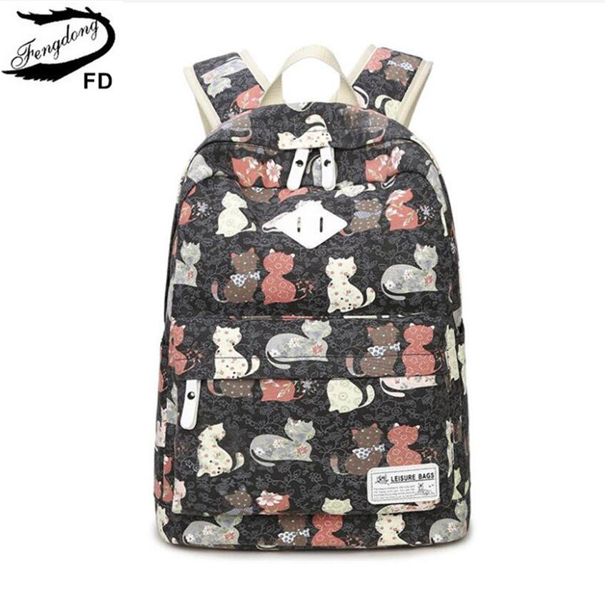 FengDong Child Schoolbag Kids Cute Cat Backpack Female Casual Canvas Printing Backpack School Bags For Girls Back Pack Rucksack