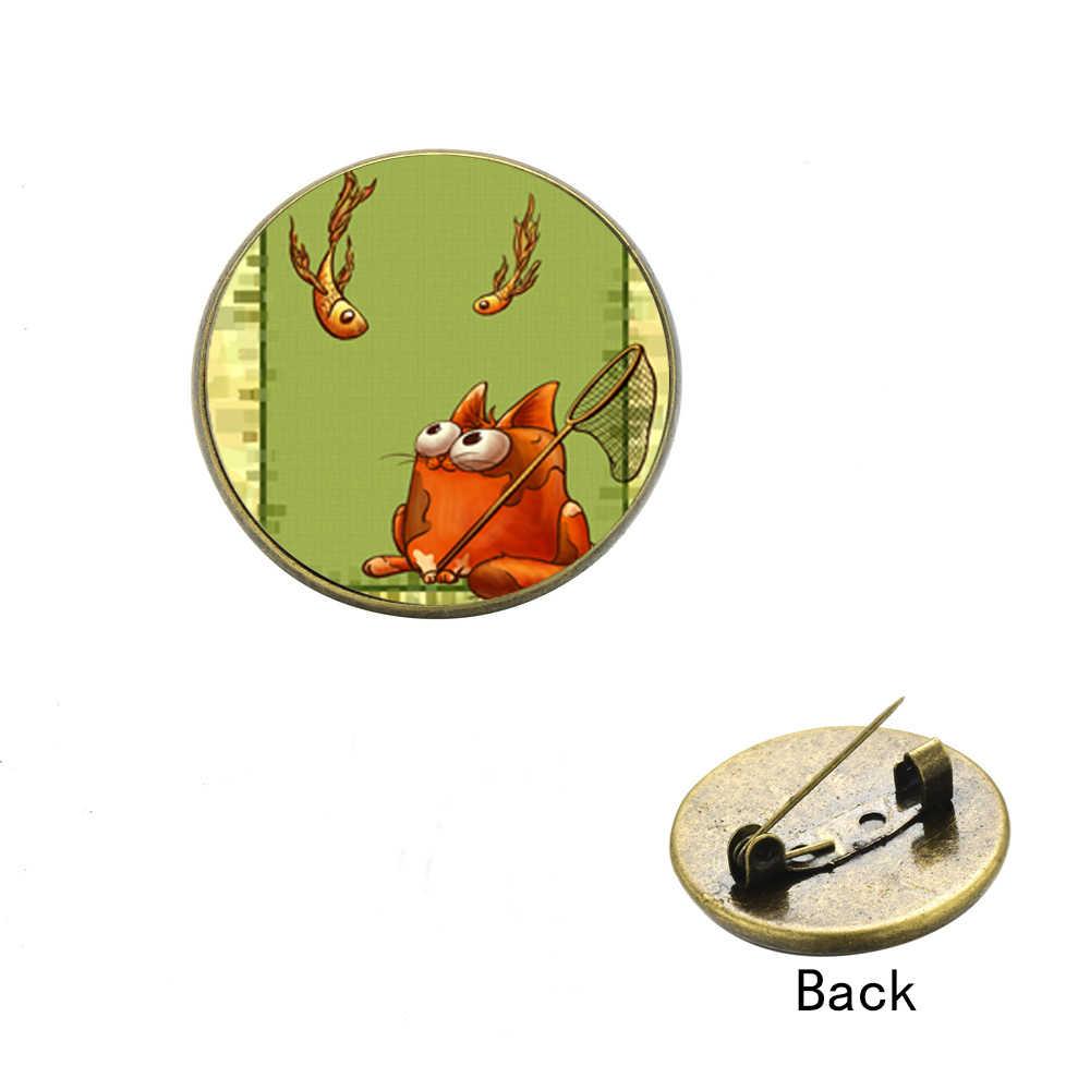 SONGDA забавный кот и золотая рыбка Круглое Стеклянное изображение значок на лацкан для джинсовая куртка воротник рюкзак мода мультфильм декоративные украшения