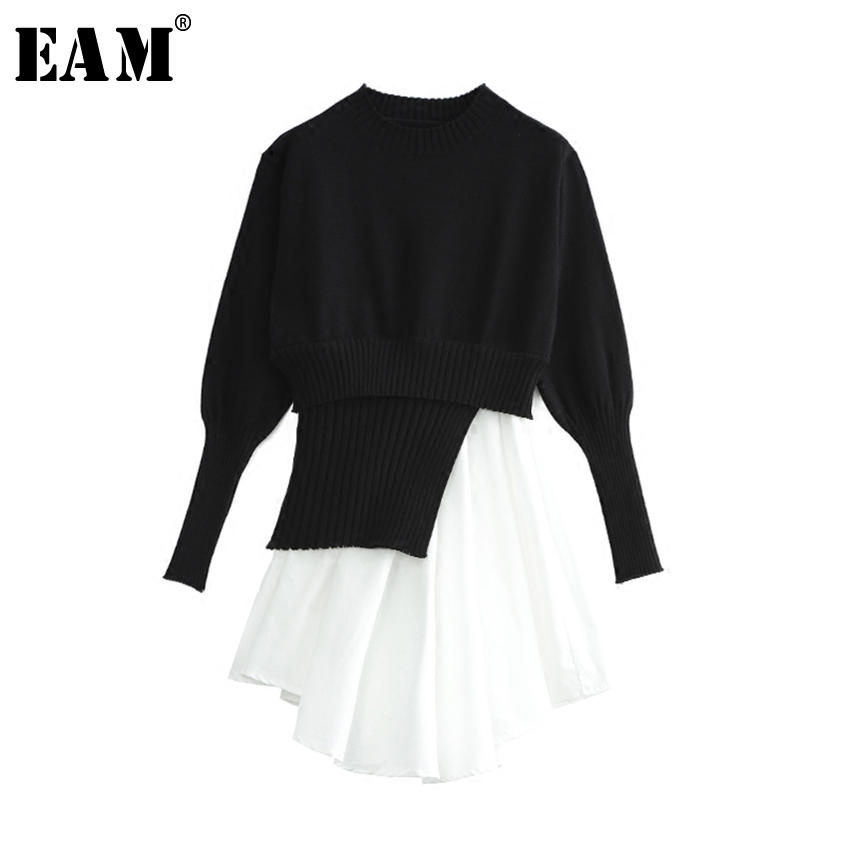 [EAM] 2018 spring new fashion knitted black solid hing waist o-neck long sleeve casual asymmetrical women dress tide RA135 pui hing 350mg 30 3