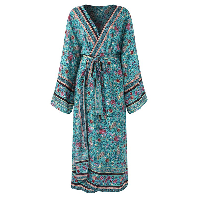 Boho Floral Printed Kimono Cardigan 2018 Summer Women Blusas Tops Casual Beach Holiday Loose   Blouses     Shirts   Long Coat Outerwear