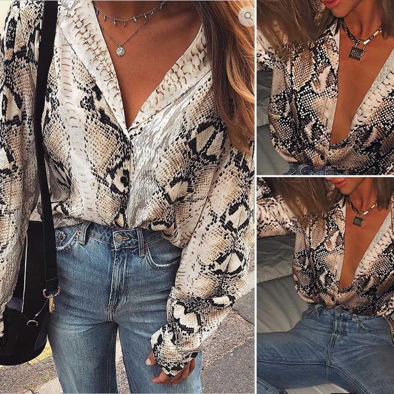 Sexy Snake Skin Print Blouses Tops Ladies Shirt Women Long Sleeve Buttom Down Vintage Blouse Fashion Lady Loose Tops in Blouses amp Shirts from Women 39 s Clothing
