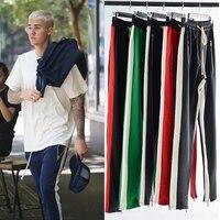 Mens Side Single Stripe Track Pants Cotton Justin Bieber Hip Hop Ankle Zipper Joggers Streetwear Retro Colorblock Loose Pants
