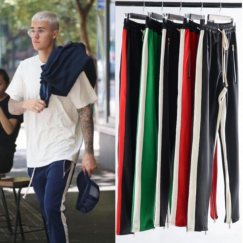 Mens Side Single Stripe Track Pants Hip-Hop Jogger Sweatpants Streetwear Colorblock Zipper Loose Sweat Pants Male