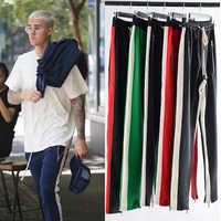 Mens Side Single Stripe Track Pants Justin Bieber Hip-Hop Jogger Sweatpants Streetwear Colorblock Zipper Loose Sweat Pants Male