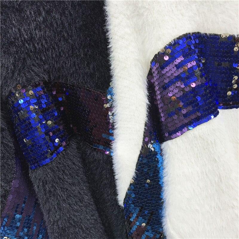 Lanterne Blanc Pull Femme Paillettes Femmes Et Oversize Taille Noir Tops Manches blanc Noir Cachemire La En Chandail Pulls Plus qwxZX7z