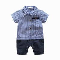 Baby Boys Summer Rompers Blue Plaid Pocket Short Sleeve One Piece Cotton Jumpsuits Infant Overalls 0-3T HY333