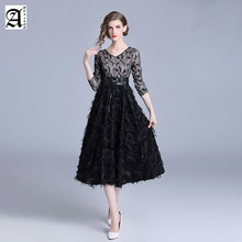 2019 New Arrival Black A-Line Lace Long Evening Dresses Half Sleeves Lace Tassel long evening dress prom dress black lace details long sleeves knitwear