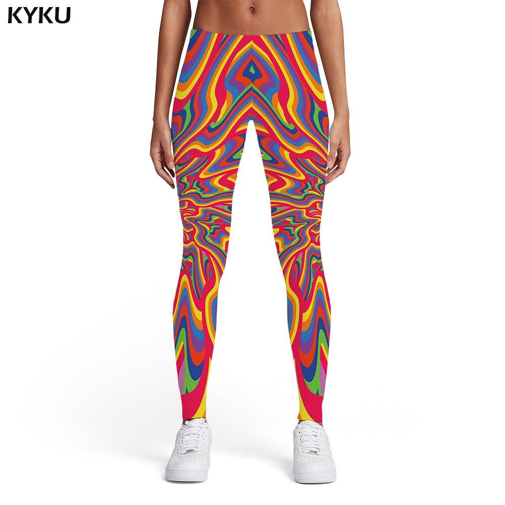 KYKU Brand Psychedelic Leggings Women Colorful 3d Print Dizziness Elastic Gothic Trousers Rainbow Spandex Womens Leggings Pants