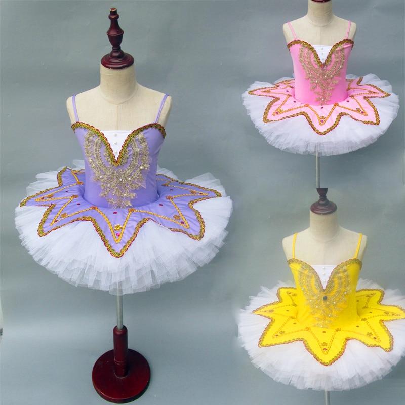 Professionl Ballet Tutus Child Swan Lake Ballet Costume Ballerina Dress Kids Leorard with Skirt Pancake Dance