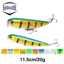 Купить с кэшбэком HAODIAOZHE Pencil Fishing Lure Hard Bait Artificial Crankbait With 2 Treble Hooks 11.5cm 20g Sinking Vibration Wobblers YU279