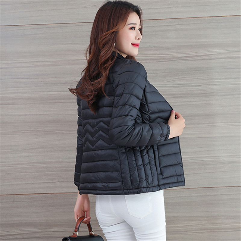 Winter Women Outerwear 2018 New Fashion Short Thin Large Size Female Down Jacket Long Sleeve Stand Collar Ladies   Parkas   Cw561