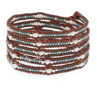 Lotus Mann 925 argent particules avec petite perle En Verre perle 5 petit m nature de brun en cuir cordon bracelet 0825