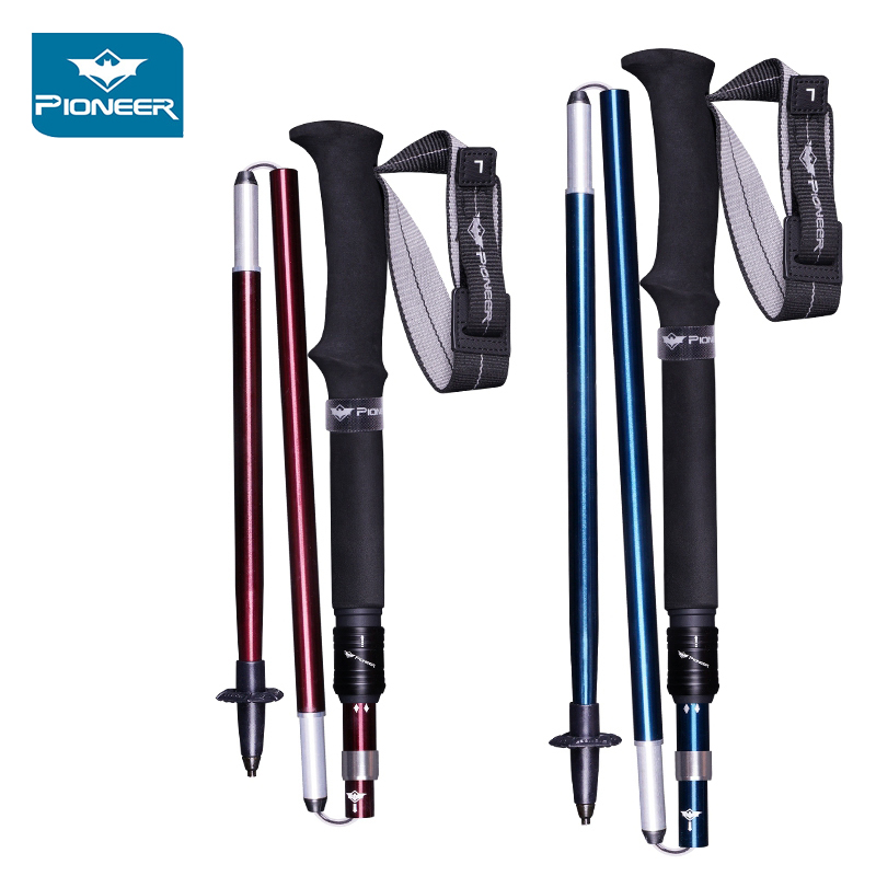 Pioneer Pole 2Pcs 5 Section Folding Ultra-light Trekking Nordic Alpenstocks Aluminum Carbon Tungsten Hiking Walking Sticks
