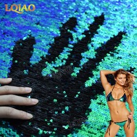 2017 Hot Sale Rianbow Reversible Sequin Fabric Two Way Stretch Embroidered Mermaid Sequin Fabric DIY Decoration