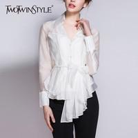 TWOTWINSTYLE Belt Shirt For Women Ruffles High Waist V Neck Long Sleeve Asymmetrical Blouse Thin Tops 2018 Spring Fashion New