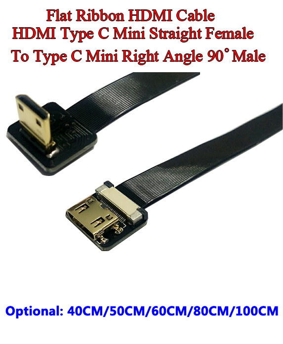 40/50/60/80/100CM Ultra Thin HDMI Cable Straight Type C Mini Female to Male Mini UP Angled 90 Degree Flat Ribbon Soft Cable FPV cy dp 082 le 1080p left angled 90 degree mini displayport to hdmi cable for hdtv black 150cm