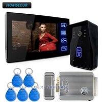 Homsur 7 телефон видео домофон дверные звонки охранных камера мониторы RFID Брелки с Eelectric замок