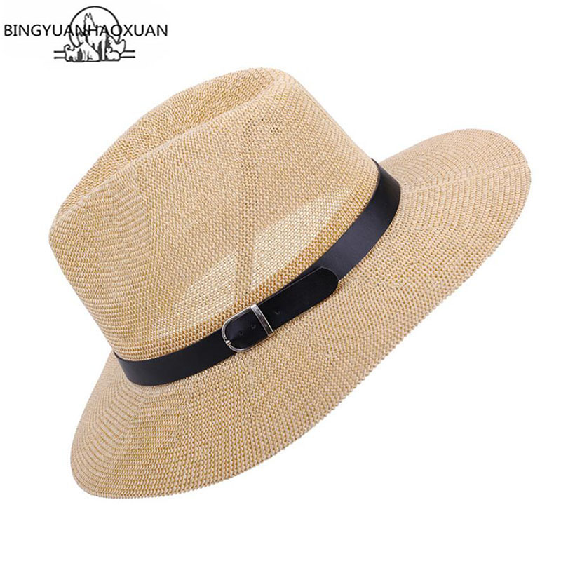 BINGYUANHAOXUAN Summer Women Sun Brim Hats For Girl Fashion Floppy Straw Hat Beach Hook Feminino Folded Floppy Hat Beach Cap