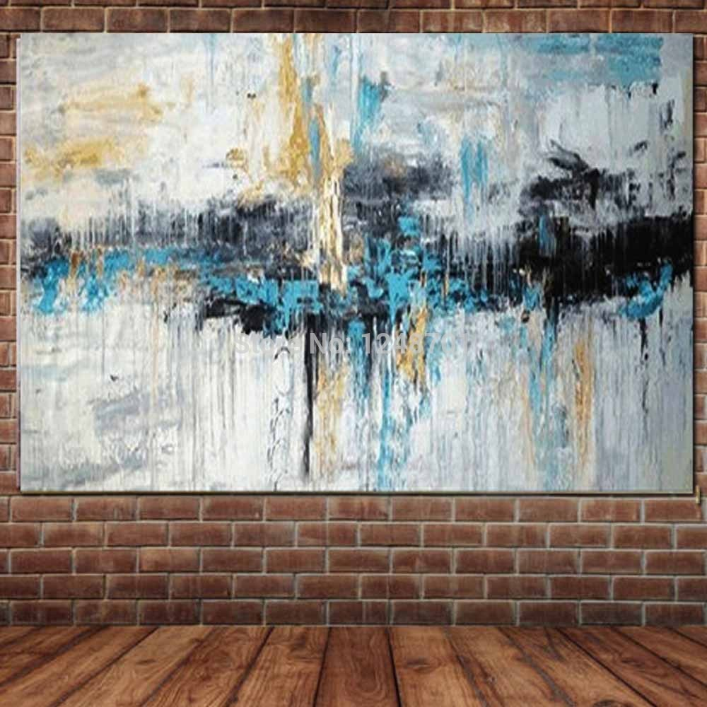 Hand Painted Abstract Turquoise Color Wall Oil Painting On