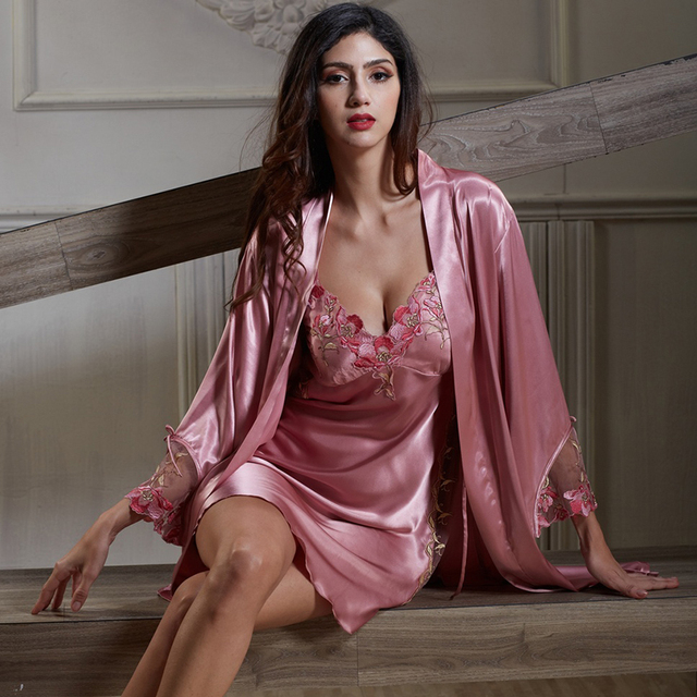Brand Women Sexy Silk Robes Dress For Sleeping Skirt 2 Pieces Lingerie Gown  Set Ladies Elegant Transparent Sleep Suit Sleepwear 4e0d8e31d