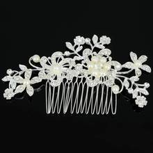 Trendy Crystal Pearl Flower Hair Comb Bridal Wedding Flower Crystal Rhinestones Pearls Women Hair Clip Comb Pin