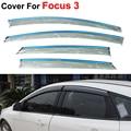 4 pçs/lote viseiras da janela Auto para Ford Focus Sedan Hatchback 3 2012 2013 2014 sol chuva escudo adesivos de carro Styling toldos abrigo
