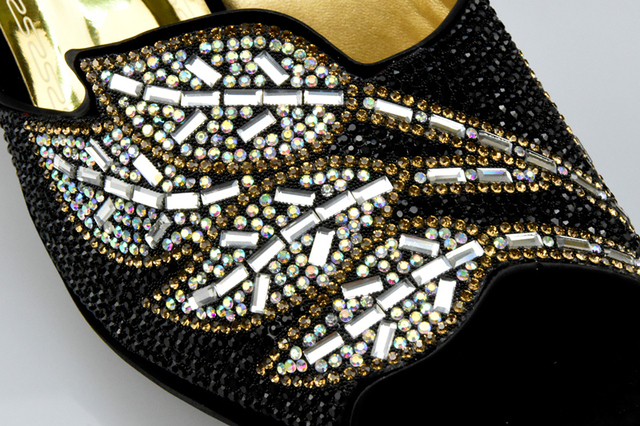 New Arrival Gold Color African Italian Women Shoes and Bag Set Decorated with Rhinestone Women Shoe and Bag To Match for Parties