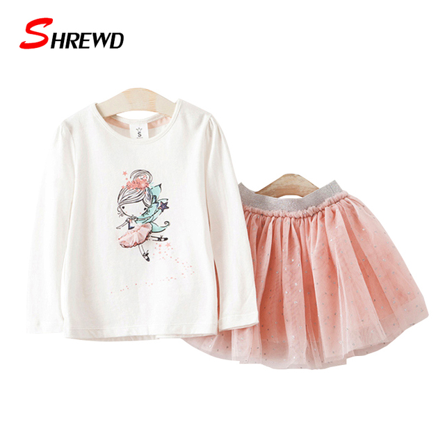 2017 New Girls Clothes Spring Casual Pattern Printing Long Sleeve Kids T Shirt+Solid Waist Girls Skirt Simple 2 PS Clothes 4604Z