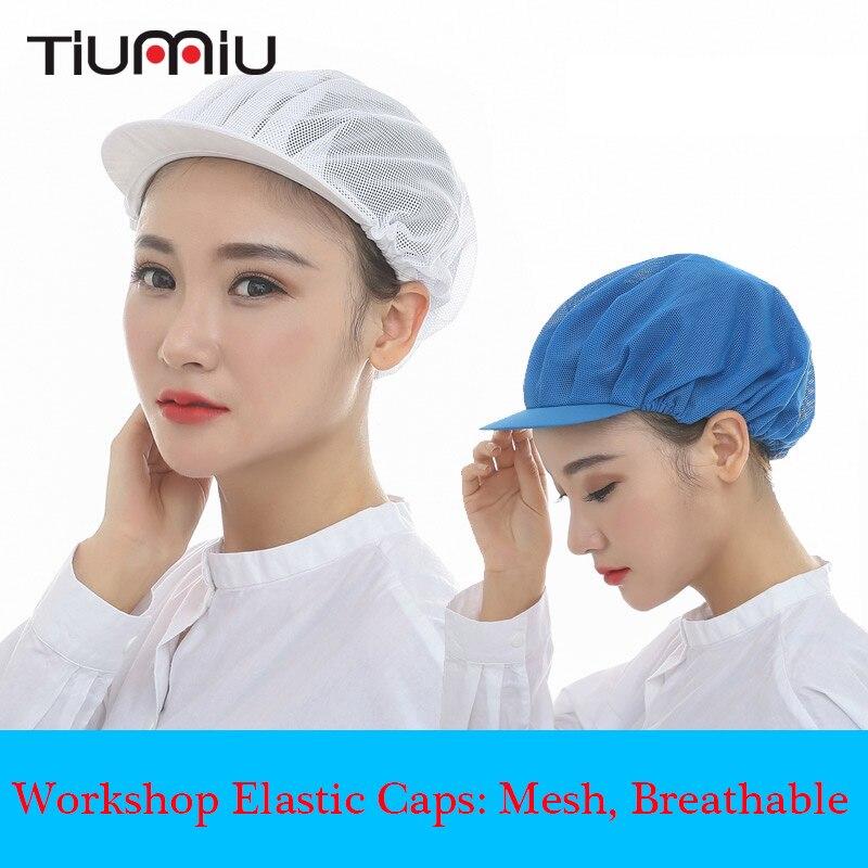6 Colors Unisex Elastic Mesh Caps Factory Workers Work Wear Hats Men Women Breathable Warehouse Food Service Workshop Wear Caps