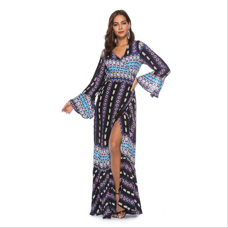 plus size boho chic floral print cotton long sleeve maxi dess 2018 Fashion Beach bohemia femme floor length women dress